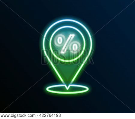 Glowing Neon Line Location With Percent Discount Icon Isolated On Black Background. Money Location I