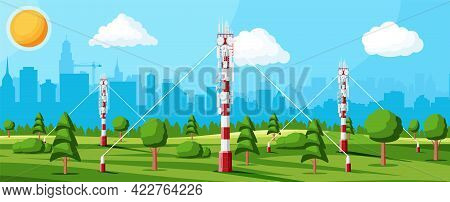 Transmission Cellular Tower Antenna Landscape. Network Broadcast Equipment Isolated. Broadcasting, I
