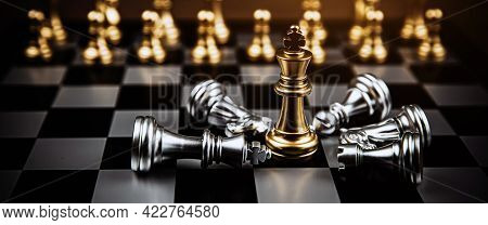 King Chess Standing Winner On Falling Chess After Fight Challenge Battle On Chess Board Concepts Of