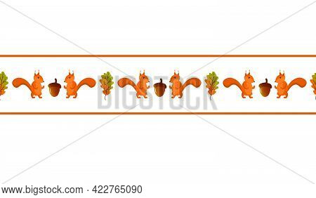 Autumn Border With Squirrel And Oak Leaves. Vector Illustration Isolated On White Background. For Us
