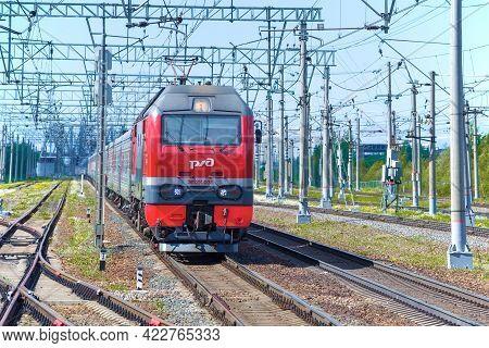 Leningrad Region, Russia - May 24, 2021: Russian Passenger Six-axle Dc Electric Locomotive Ep2k-035