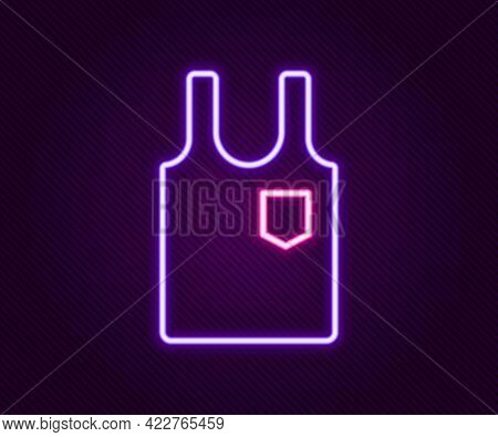 Glowing Neon Line Sleeveless T-shirt Icon Isolated On Black Background. Colorful Outline Concept. Ve