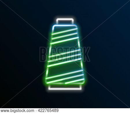 Glowing Neon Line Sewing Thread On Spool Icon Isolated On Black Background. Yarn Spool. Thread Bobbi