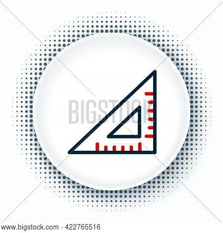 Line Triangular Ruler Icon Isolated On White Background. Straightedge Symbol. Geometric Symbol. Colo