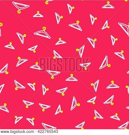 Line Hanger Wardrobe Icon Isolated Seamless Pattern On Red Background. Cloakroom Icon. Clothes Servi