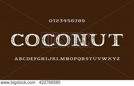 Decorative Serif Font With Inner Contour. Letters And Numbers With Rough Texture For Logo And Label