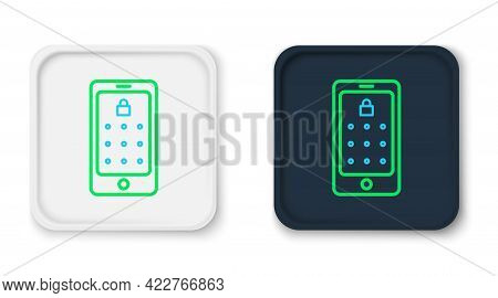 Line Mobile Phone And Graphic Password Protection Icon Isolated On White Background. Security, Perso