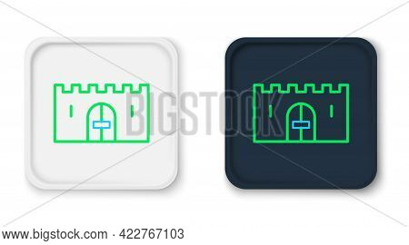 Line Medieval Castle Gate In A Stone Wall Icon Isolated On White Background. Medieval Fortress. Prot