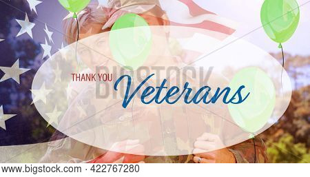 Composition of male soldier embracing smiling wife over veterans day text. soldier returning home to family concept digitally generated image.