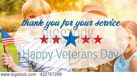 Composition of male soldier embracing smiling children over veterans day text. soldier returning home to family concept digitally generated image.