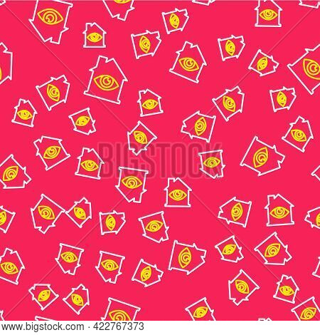 Line House With Eye Scan Icon Isolated Seamless Pattern On Red Background. Scanning Eye. Security Ch