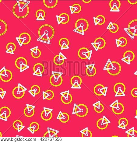 Line Hamster Wheel Icon Isolated Seamless Pattern On Red Background. Wheel For Rodents. Pet Shop. Ve