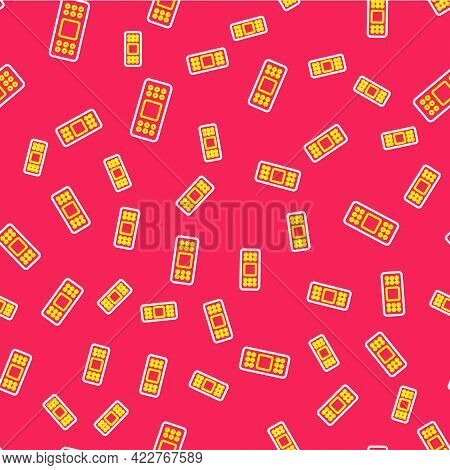 Line Bandage Plaster Icon Isolated Seamless Pattern On Red Background. Medical Plaster, Adhesive Ban