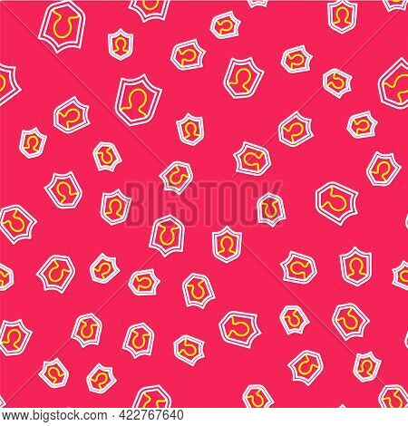 Line User Protection Icon Isolated Seamless Pattern On Red Background. Secure User Login, Password P