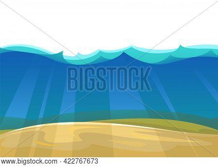 Sandy Bottom Of The Reservoir. Blue Transparent Clear Water. Sea Ocean. Underwater Landscape. Isolat