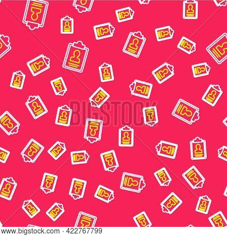 Line Clipboard With Resume Icon Isolated Seamless Pattern On Red Background. Cv Application. Curricu