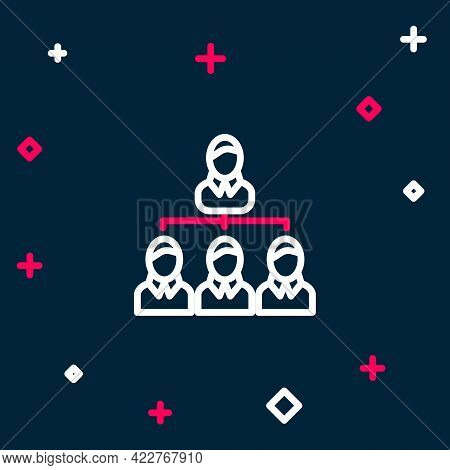Line Business Hierarchy Organogram Chart Infographics Icon Isolated On Blue Background. Corporate Or