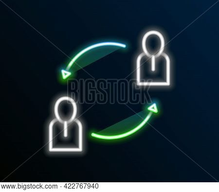 Glowing Neon Line Human Resources Icon Isolated On Black Background. Concept Of Human Resources Mana