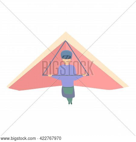 Man Hang Glider Icon. Cartoon Of Man Hang Glider Vector Icon For Web Design Isolated On White Backgr