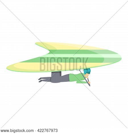 Fly Hang Glider Icon. Cartoon Of Fly Hang Glider Vector Icon For Web Design Isolated On White Backgr