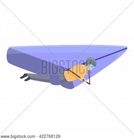 Adventure Hang Glider Icon. Cartoon Of Adventure Hang Glider Vector Icon For Web Design Isolated On