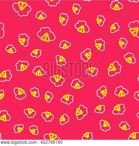 Line Storm Warning Icon Isolated Seamless Pattern On Red Background. Exclamation Mark In Triangle Sy