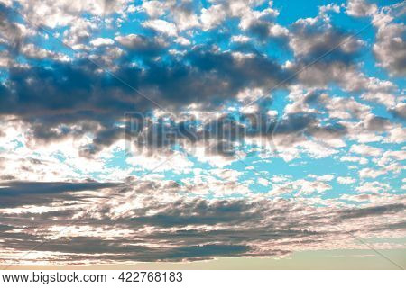 Cirrocumulus Typically Sunny And Cold Weather . Rows Of Small Patchy Clouds