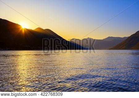 South Island Is Stunning Coastal Region . Sunset Over The Mountains And Sea . Lagoon Surrounded By M