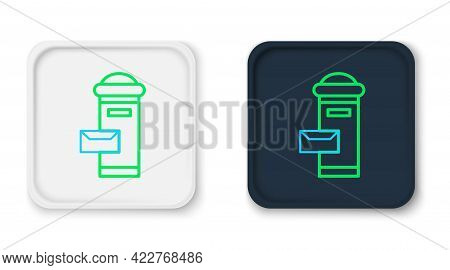 Line Traditional London Mail Box Icon Isolated On White Background. England Mailbox Icon. Mail Postb