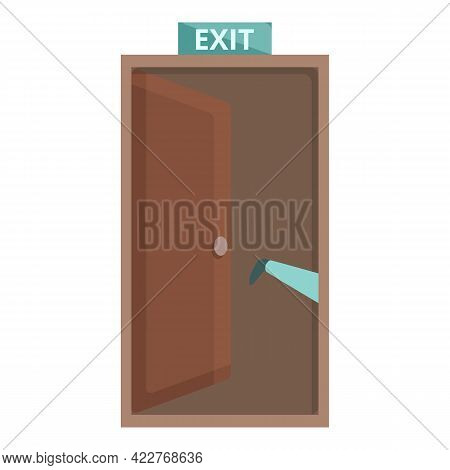 Exit Door Icon. Cartoon Of Exit Door Vector Icon For Web Design Isolated On White Background