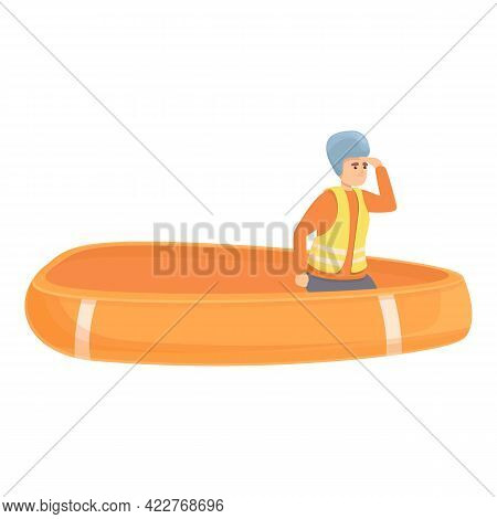Sea Evacuation Icon. Cartoon Of Sea Evacuation Vector Icon For Web Design Isolated On White Backgrou