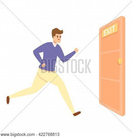Exit Door Fast Evacuation Icon. Cartoon Of Exit Door Fast Evacuation Vector Icon For Web Design Isol