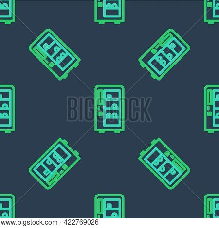 Line Vending Machine Of Food And Beverage Automatic Selling Icon Isolated Seamless Pattern On Blue B