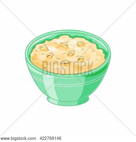 Oatmeal Porridge In A Green Bowl On A White Background. Healthy Delicious Breakfast. Cartoon Style.