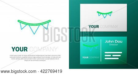 Line Carnival Garland With Flags Icon Isolated On White Background. Party Pennants For Birthday Cele