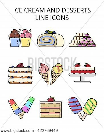 Ice Cream And Desserts. Set Of Colored Vector Icons In Flat Style