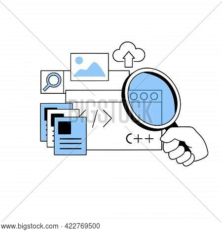 Development Of The Website And Application Web Design. Outline Hand Holds A Magnifying Glass On The