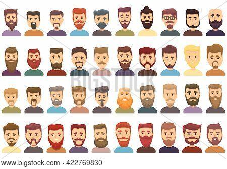 Beard Icons Set. Cartoon Set Of Beard Vector Icons For Web Design
