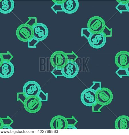 Line Cryptocurrency Exchange Icon Isolated Seamless Pattern On Blue Background. Bitcoin To Dollar Ex