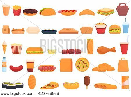 Take Away Food And Drinks Icon. Cartoon Of Take Away Food And Drinks Vector Icon For Web Design Isol