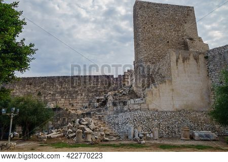 Walls & Tower Of Ancient Fortress Corycus, Former Important Port & Commercial Town On Mediterranean