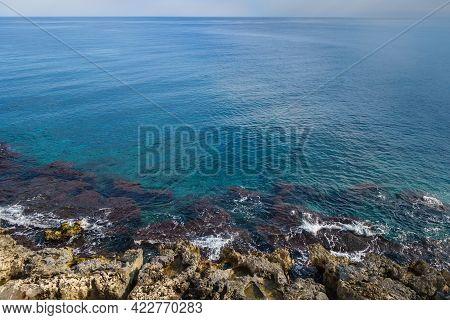 Panoramic View Onto Mediterranean Coastline, Including Underwater Reefs & Coastal Rocks, Waves Washi