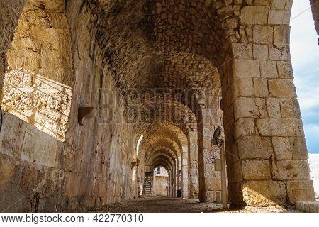 Corridor Inside Of Medieval Fortress Kizkalesi, City Kizkalesi, Turkey. There Are Stone Arch Colonna