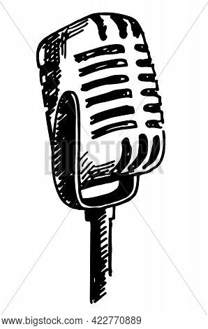 Vintage Microphone Hand Drawn Engraving Style Vector Illustration. Hand Drawn Sketch Of Ink-drawn Mi