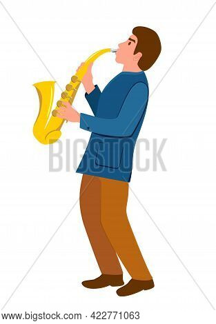 Man With A Saxophone. Saxophonist Character. Illustration Of Jazz Musician. Young Man Musician Plays