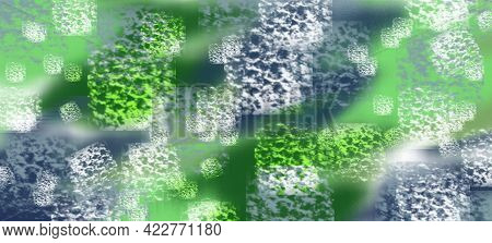 Square Porous Imprints Are Superimposed On The Green And Gray Highlighted Spots. Imitation Of A Patt