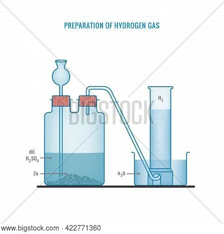 Hydrogen Gas Preparation. Preparation Of Hydrogen Gas In Laboratory With The Help Of Zinc And Sulphu