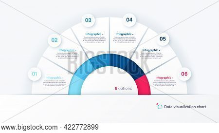 Vector Round Infographic Chart Template In The Form Of Semicircle Divided By Six Parts.