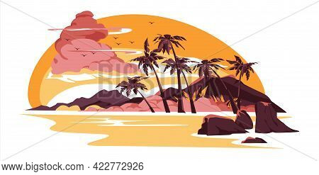 Sunset Or Sunrise On Beach, Tropical Landscape With Palm Trees On Seaside Under Pink Cloudy Sky. Eve