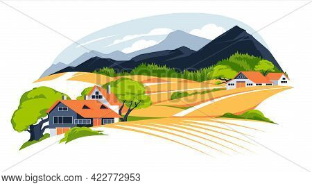 Panoramic Landscape With Meadows And Mountains. Houses In Rural Area Vector Illustration. Scenic Out